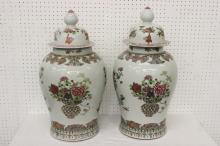 Pair large famille rose porcelain covered jar