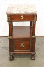 Vintage marble top mahogany side table