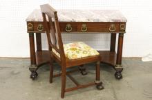Vintage marble top mahogany vanity & chair