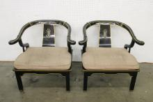 Pair Chinese black lacquer armchairs