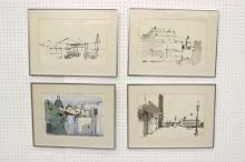 4 watercolors by New York artist Peter Ruta