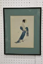 W/c of fashion lady in early 20th century, signed