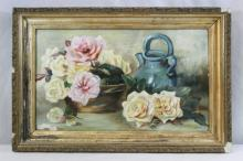 Victorian oil painting on board depicting still life