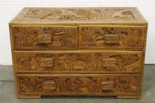Chinese carved camphor wood chest of drawers