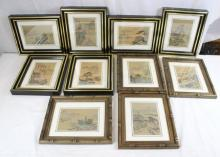Set of 10 Chinese vintage framed watercolor on silk