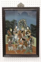 Chinese vintage reverse painting on glass panel
