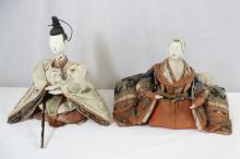 Rare pair 19th century Japanese samurai dolls