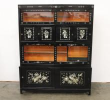 Korean lacquer cabinet/display case w/ MOP inlaid