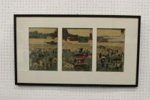 Japanese antique woodblock triptych