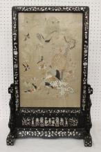 Chinese antique embroidery panel w/ rosewood stand