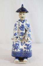 Chinese blue and white porcelain seated figure