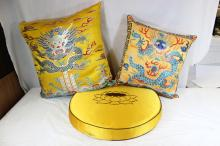 3 Chinese silk pillow with embroidery cover