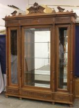 Victorian walnut triple front display case
