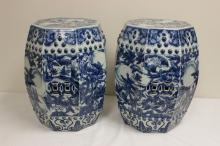 Pair Chinese b&w porcelain garden stools