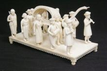 antique ivory carved royal wedding procession