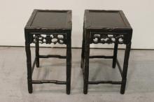 Pair Chinese rosewood pedestal table