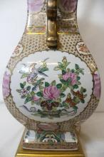Chinese famille rose vase, made as lamp