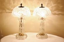Pair cut crystal table lamps