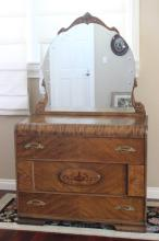 50's dresser with inlaid and etched glass mirror
