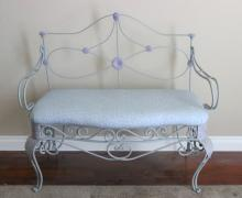 Painted Victorian cast iron bench