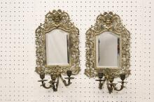 Pair rococo style wall sconces