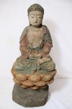 Vintage Chinese wood carved Buddha