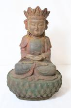 Chinese cast iron sculpture of seated Buddha