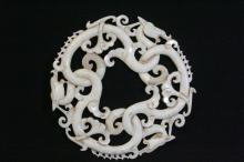 Chinese white jade carved circular pei