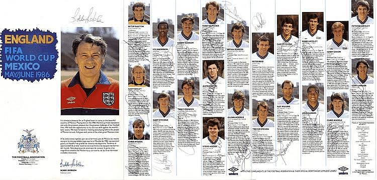 ENGLAND FOOTBALL: A printed 4to colour folding