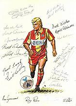 FOOTBALL: A good original colour pen and ink