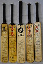CRICKET: Selection of five miniature cricket bats,