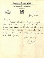 RHODES WILFRED: (1877-1973) English Cricketer.