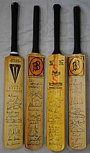 CRICKET: Selection of four miniature cricket bats,