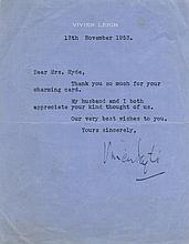 LEIGH VIVIEN: (1913-1967) English Actress, Academy Award win