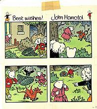 RUPERT BEAR: An original four panel drawing by artist John H