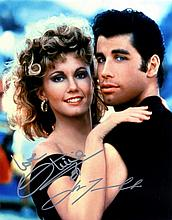 GREASE: Signed colour 8 x 10 photograph by both John Travolt