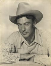 COOPER GARY: (1901-1961) American Actor, Academy Award winner. Vintage signed and inscribed 11 x 14