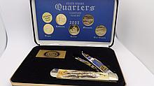 Case XX 2005 24K Gold Plated Qaurters Knife Bone Handle