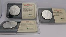 (3) 2002 Silver American Eagle coins