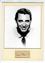 Scarce Cut Signature from the 1930's of Cary Grant Nicely Presented With Matted and Framed Photo