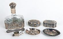 Collection of German Silver, Vanity Set, Small Trays, Trinkets