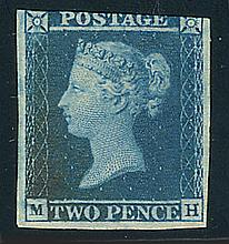 "Great Britain, 1841, 2d blue, ""white lines"""
