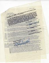 Original Radio Contract from 1950 Signed by John Garfield and Rasalind Russell for Dinner At Eight