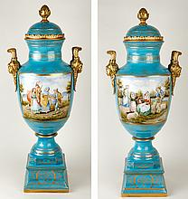 Pair of Monumental Dresden Porcelain Rococco Revival Urns, Late 19th Century