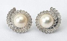 Cultured Pearl, Diamond, 14K White Gold Floral Design Earrings