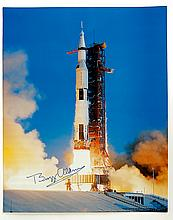 1980s Buzz Aldrin signed Apollo 11 launch color litho