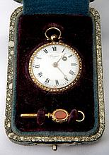 Antique Breguet 14K Yellow Gold, Pearl Key Wind Open Face Pocket Watch