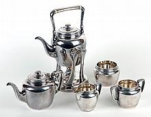 Antique Tiffany Sterling Coffee/Tea 5-piece set plus Coffee Stand and Burner