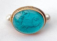Carved Intaglio, Pearl, 14K Yellow Gold Lady's Ring