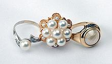Collection of Lady's Pearl, Gold Rings